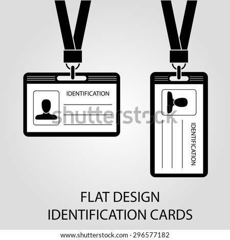 two identification card with a photo, pass in the flat style - stock vector