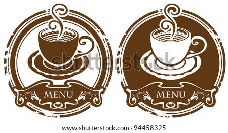 two images with cup of coffee or tea - stock vector