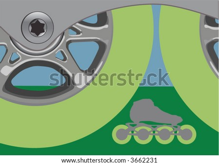 Two inline speedskating wheels; a complete skate visible between the two big wheels. - stock vector