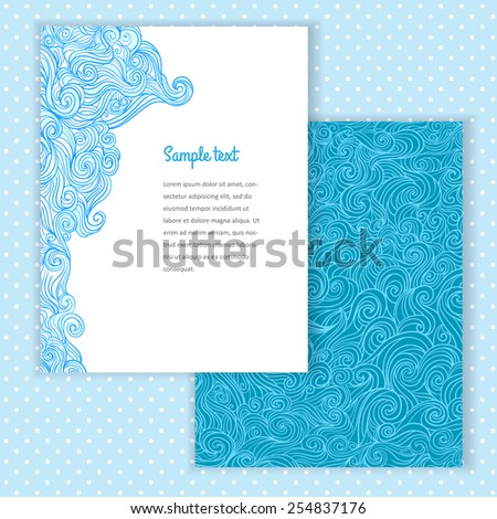 Two invitation card design with abstract wave background. Vector design template illustration for card, letter, banner. Vector seamless pattern under mask. - stock vector