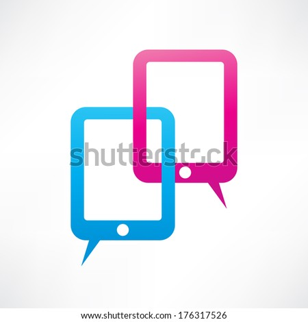 Two ipads bubble speech - stock vector