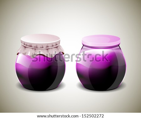 Two jar of jam with plastic and paper cap - stock vector