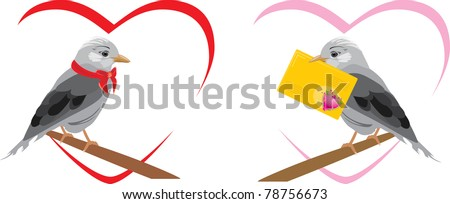 Two jays. Vector - stock vector