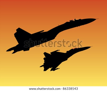 Two jet fighters in sunset vector image - stock vector