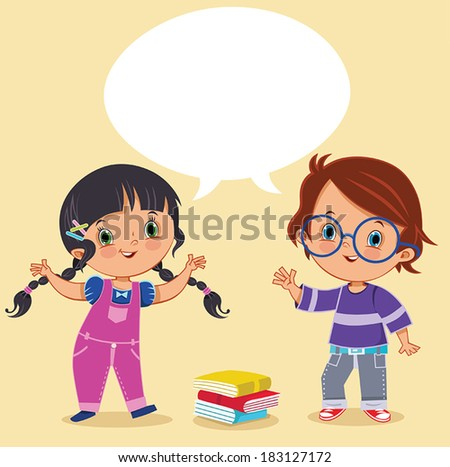 Two kids talking - stock vector