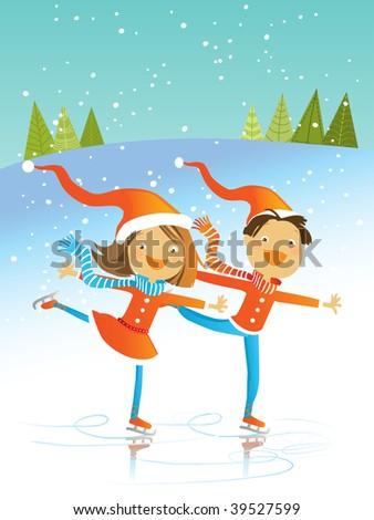 two kids wearing santa costumes, skating, vector winter illustration - stock vector