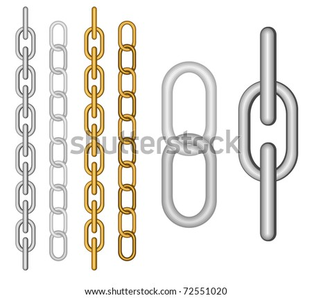 Two kind of different chain on the white - stock vector