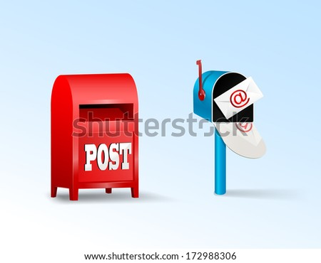 Two kinds of mail boxes. Vector eps 10  - stock vector