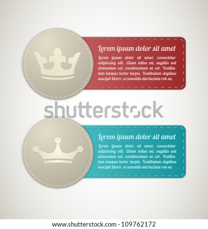 two King Size Stitched labels - stock vector