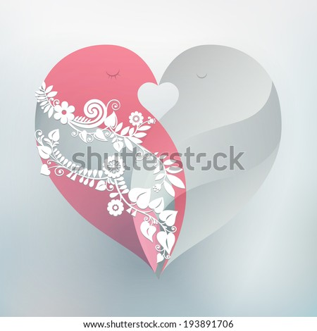 Two kissing love birds form one beautiful heart. Perfect design element for wedding or anniversary. Vector EPS 10 illustration.  - stock vector