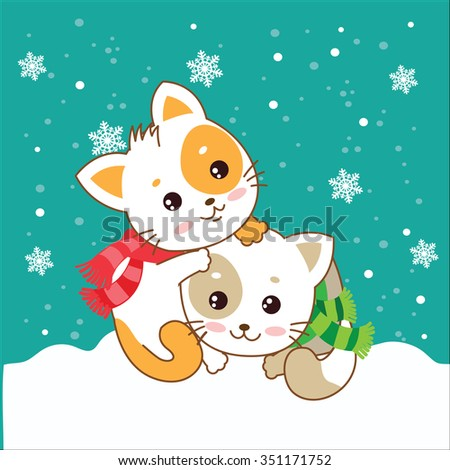 Two Kittens. Cats In The Snow. Vector Kittens. Cats In The Winter. The Cats Play. Playful Cats. Cats And Snow. Vector Illustration. Two Joyful Cats. Cats As Pets. Winter Games. Two Kittens Hugging. - stock vector