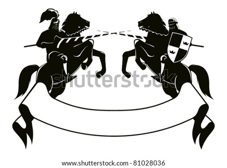two knights fighting on horseback combat embarked on its hind legs, the bottom of the tape for signs - stock vector