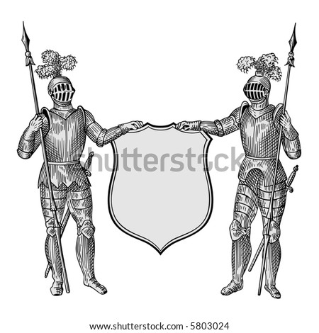 Two knights vector - stock vector