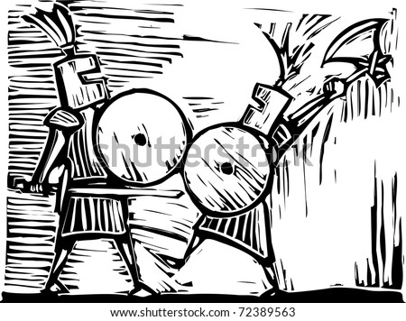 Two knights with swords, axes and shields fight.