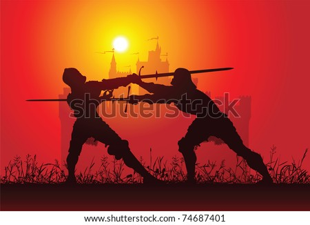 Two knights with the castle on the background - stock vector
