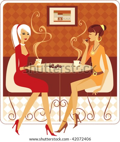 Two ladies drinking coffee in cozy cafe - stock vector
