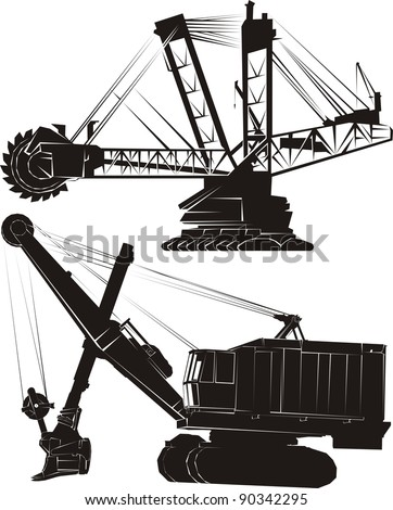 Two large mining earth movers, black isolated on white - vector cartoon illustration set - stock vector