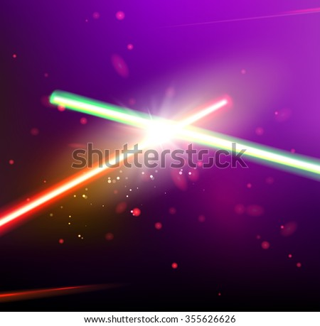 Two laser rays are crossed over dark space background. Deep space of univerce  with stars and laser glow. Vector illustration. - stock vector