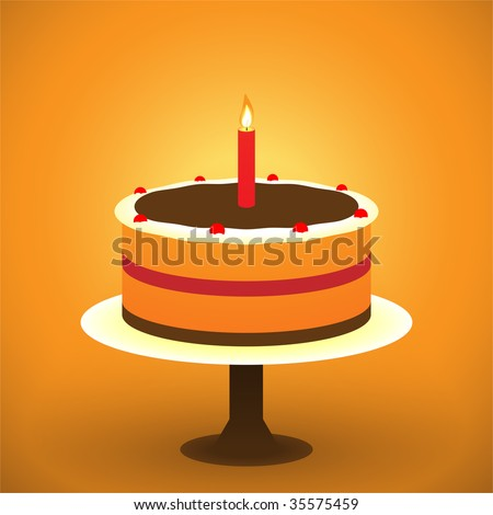 Two layer Birthday Cake with a burning candle - stock vector