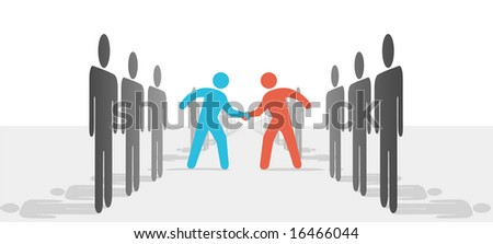 Two leaders step from sides lines of people or companies to join in a handshake & agree to cooperate. - stock vector