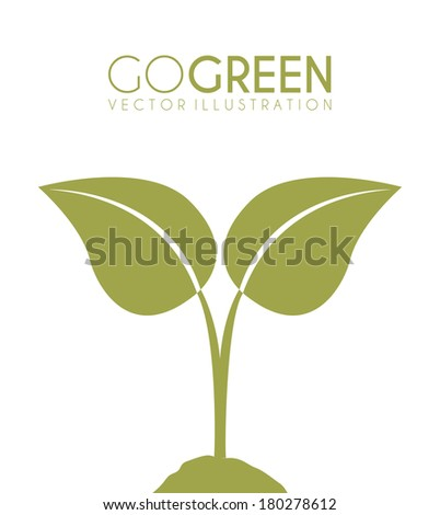 Two leaves on white background, Vector illustration - stock vector