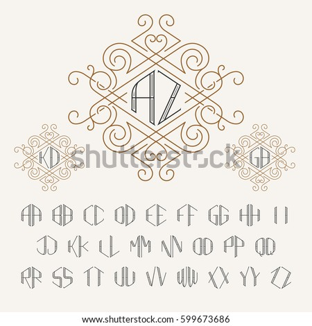 two letters monogram template in outline style set of letters from a to z
