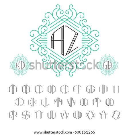 Two Letters Monogram Template Outline Style Stock Vector (Royalty ...