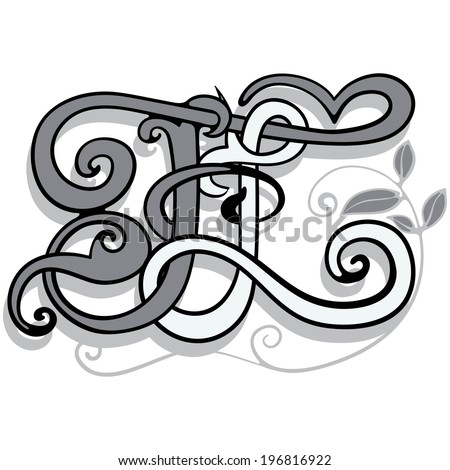 Two letters woven into a single ensemble,vector illustration.