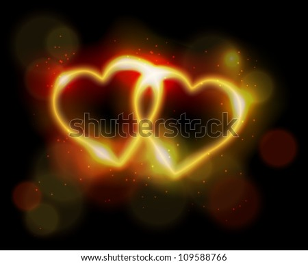 Two ligth neon hearts on black background. Eps10 vector. - stock vector