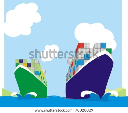 Two liner boxships racing for berthing window - Container vessels steaming at full speed color vector illustration - stock vector