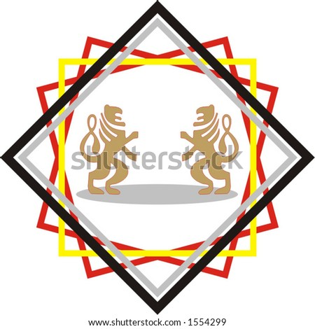 two lions fighting, powerful corporate and industrial logotype - vector art - stock vector