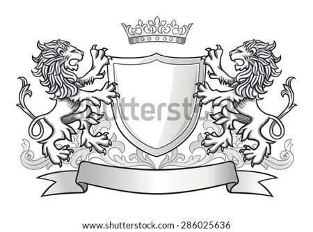 Two Lions Holding Shield with Crown and Banner - stock vector