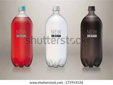 Two liter transparent plastic bottle for new design. Sketch style - stock vector