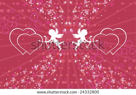 two little cupids - stock vector