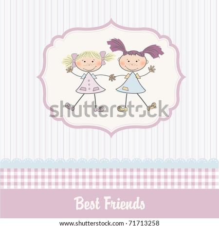 Little Girls Best Friends Two Little Girls Best Friends