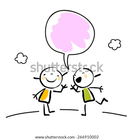 Two little girls talking, speaking and listening, with a speech balloon.  - stock vector