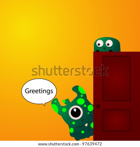 Two little green monsters opening the door and greeting - stock vector
