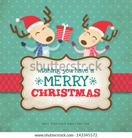 Two little reindeers christmas card - stock vector