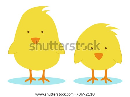 two little yellow chickens - stock vector