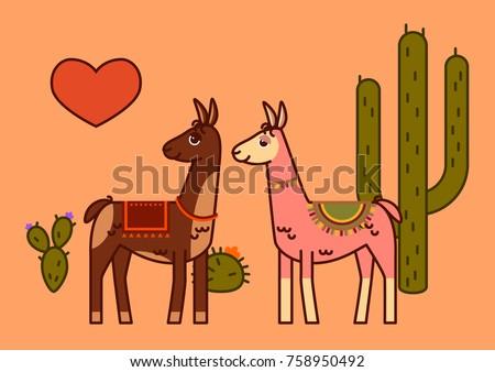 Line Art Valentine : Two llamas red heart line art stock vector 758950492 shutterstock
