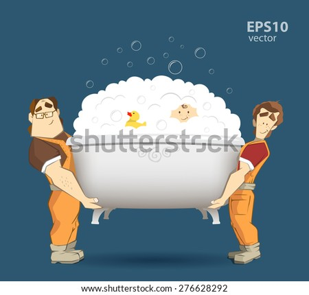 Two loaders movers holding and carrying white bathtub with kid, yellow duck and foam with bubbles. Moving services 3d creative concept and conceptual illustration. - stock vector