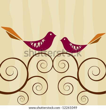 Two lovebirds atop swirly branches; retro inspired background