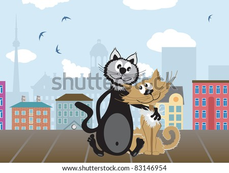 Two lovers cats. Vector illustration - stock vector