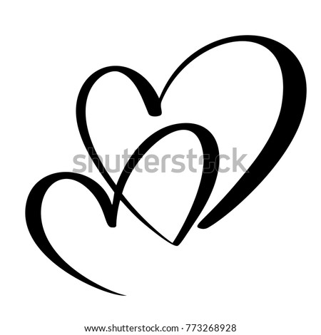 Two Lovers Heart Handmade Vector Calligraphy Stock Vector