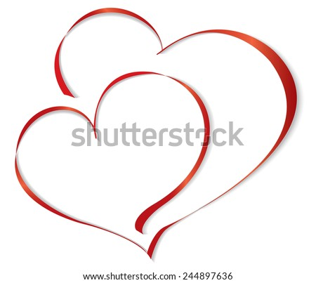 Two lovers heart. Vector illustration - stock vector