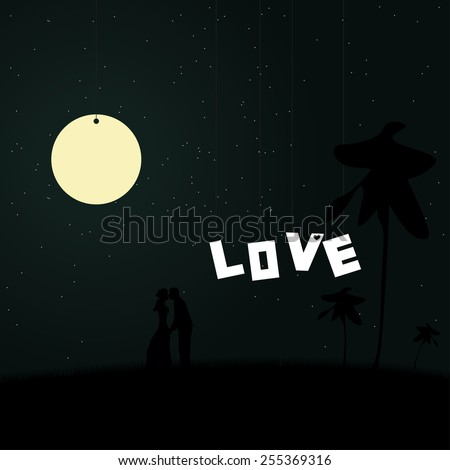 Two lovers on a background of the night sky with shining stars and the moon. - stock vector