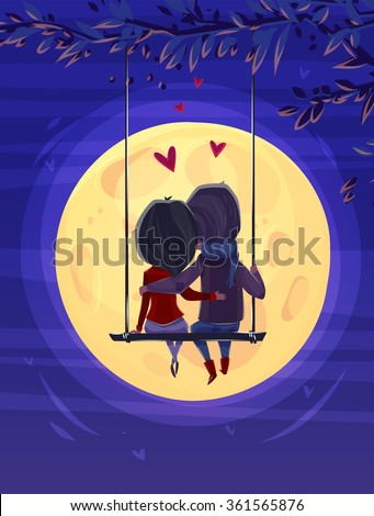 Two lovers sitting on the swing on the moon background. Modern design stylish illustration. Retro flat vector background. Valentines Day Card. - stock vector
