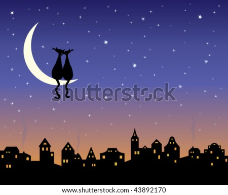 Cartoon City Skyline Night The Night City Skyline