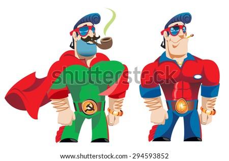 Two macho  - stock vector