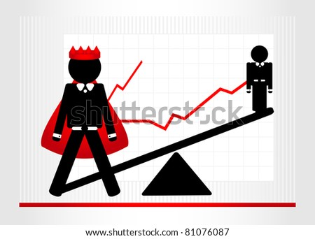 two man on scales with graphic - stock vector